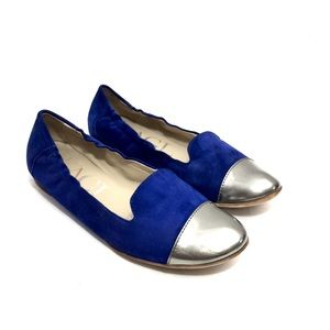 AGL Blue Suede & Silver Leather Smoking Flats